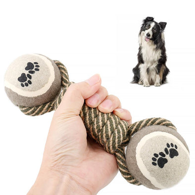 Rope Dumbell Dog Chew Toy - Tennis Ball