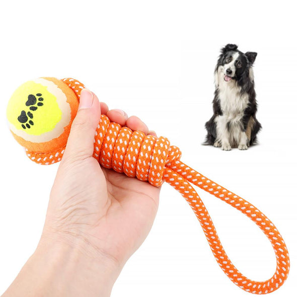 Rope Toy For Dog - with Tennis Ball 30cm