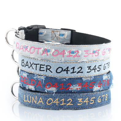 Denim Style - Personalised Dog Collar