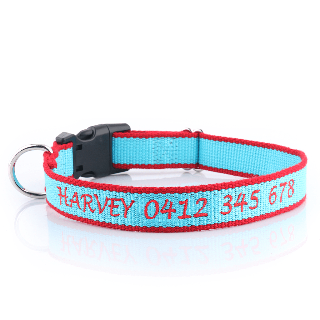 Embroidered Organic Bamboo Personalised Dog Collar