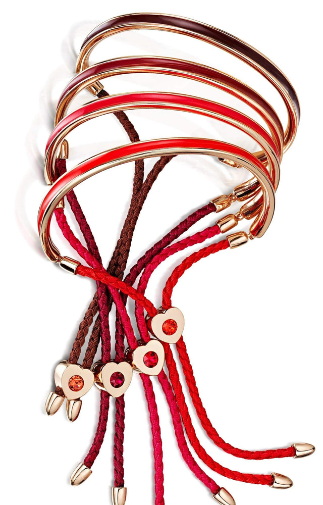 Load image into Gallery viewer, Fervor Montreal Bangle Mi Amore- Rose Gold Plated Hot Pink