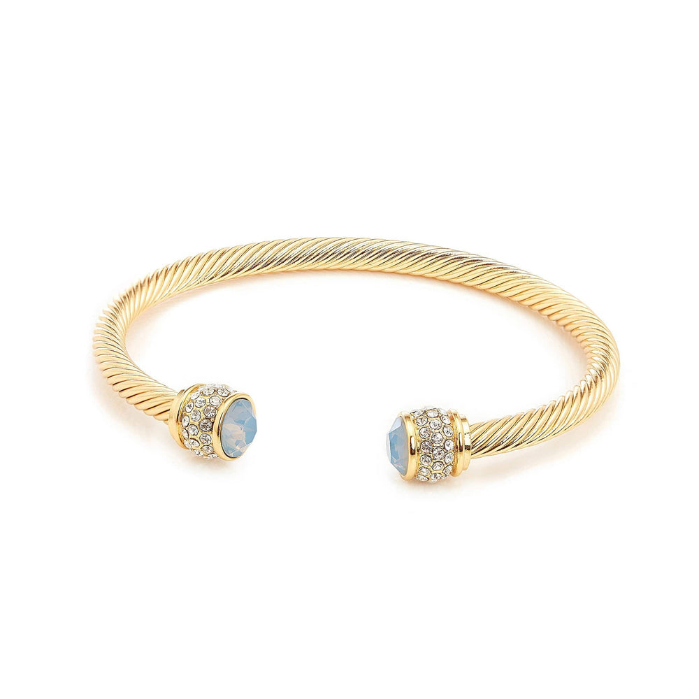 Fervor Montreal Bangle Opal Bella Bangles- Gold Plated with Air Blue Opal Crystal