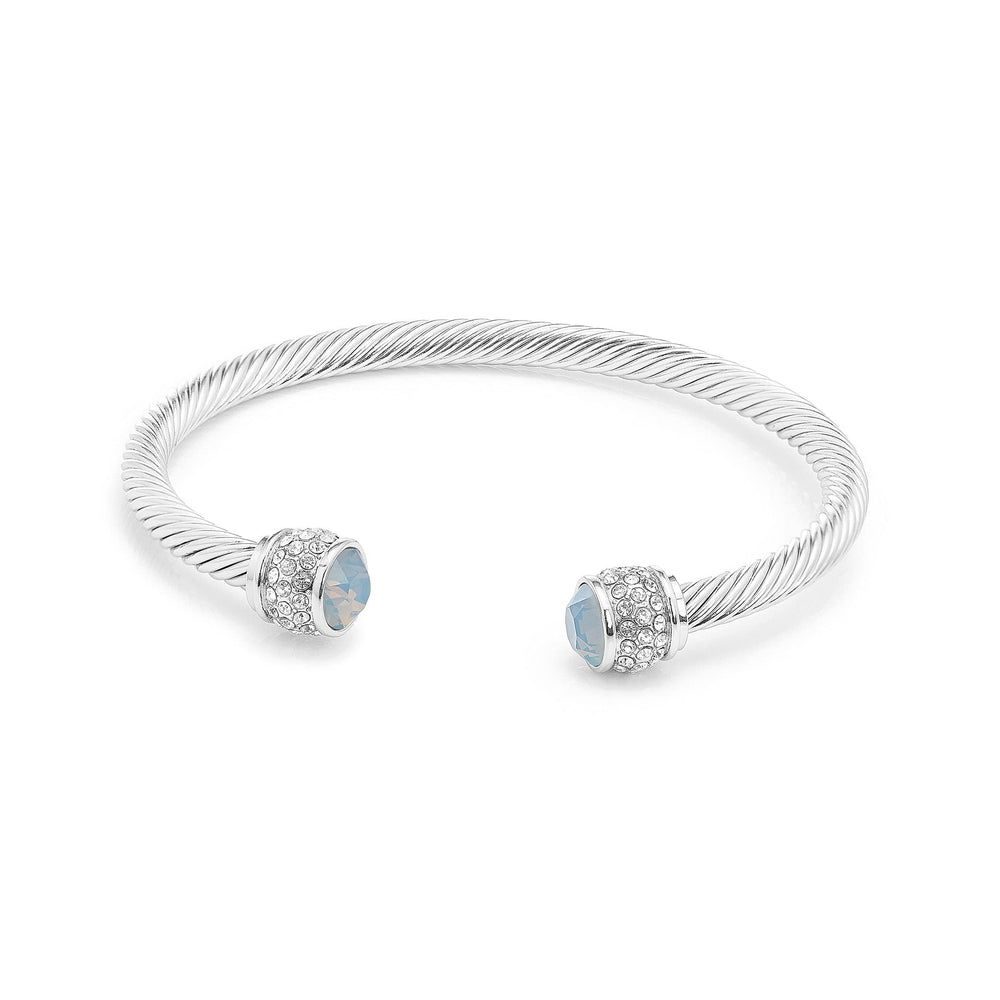 Fervor Montreal Bangle Opal Bella Bangles- Rhodium Plated with Air Blue Opal Crystal
