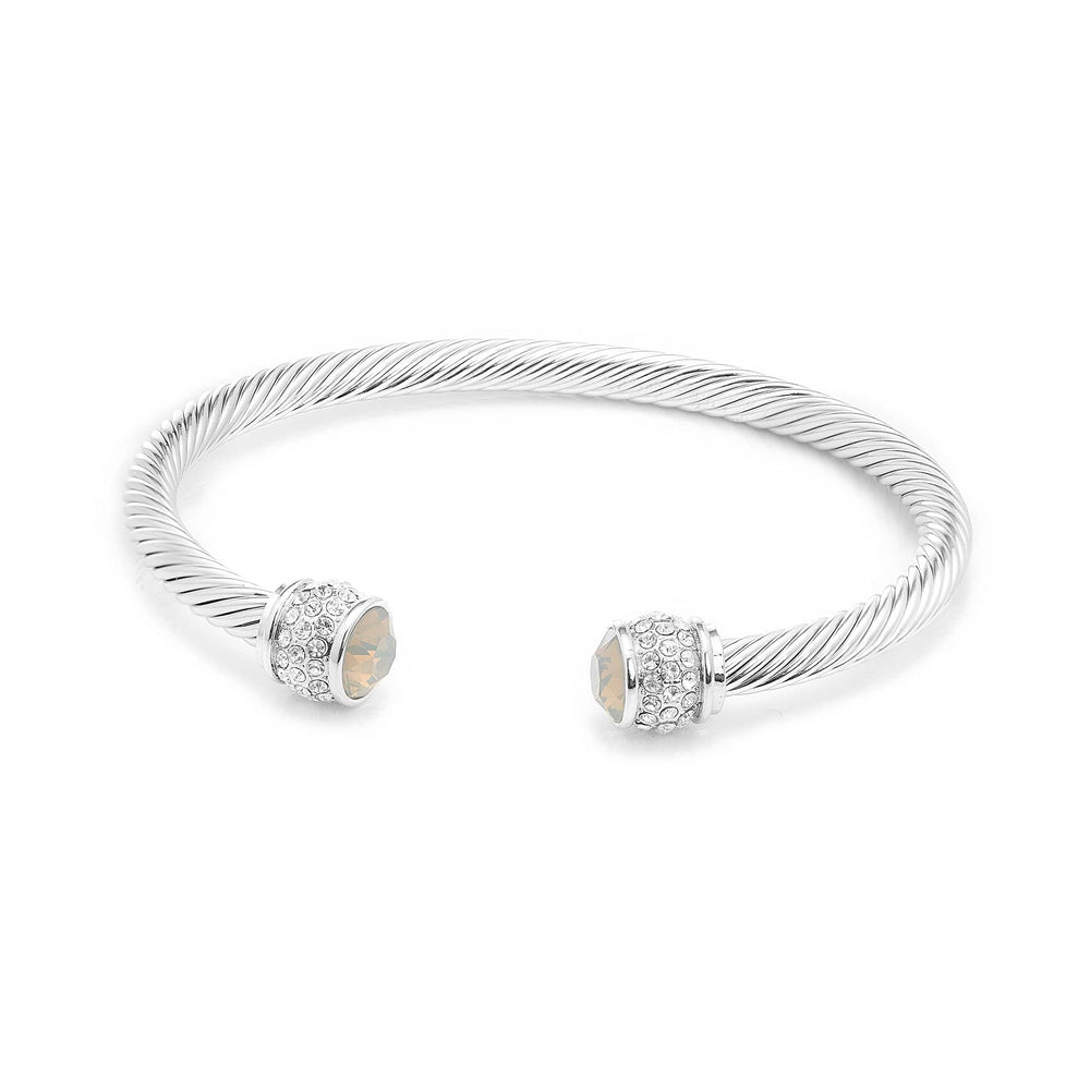 Load image into Gallery viewer, Fervor Montreal Bangle Opal Bella Bangles- Rhodium Plated with Light Grey Opal Crystal