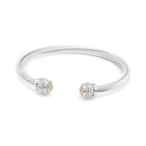 Fervor Montreal Bangle Opal Bella Bangles- Rhodium Plated with Light Grey Opal Crystal