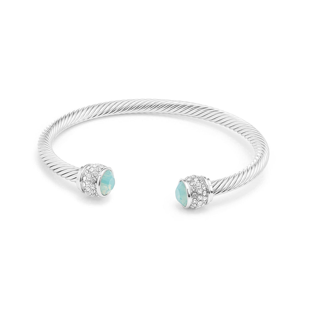 Fervor Montreal Bangle Opal Bella Bangles- Rhodium Plated with Pacific Opal