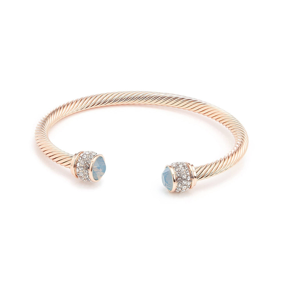 Fervor Montreal Bangle Opal Bella Bangles- Rose Gold Plated with Air Blue Opal Crystal