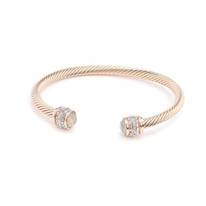 Fervor Montreal Bangle Opal Bella Bangles- Rose Gold Plated with Light Grey Opal Crystal