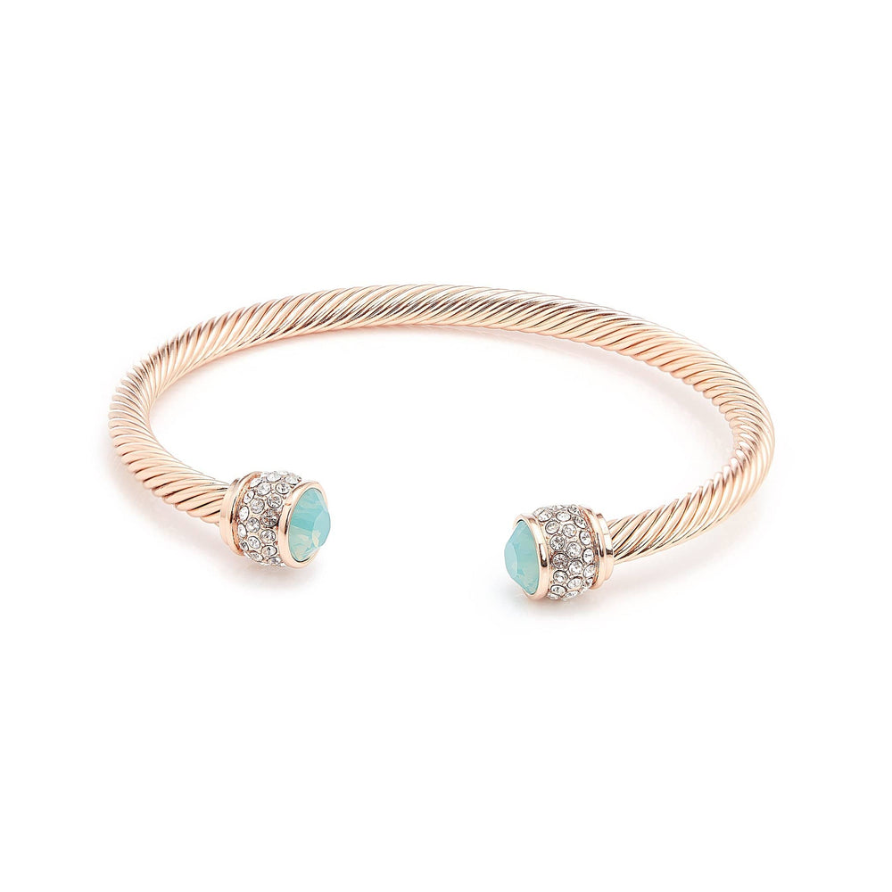 Fervor Montreal Bangle Opal Bella Bangles- Rose Gold Plated with Pacific Opal Crystal