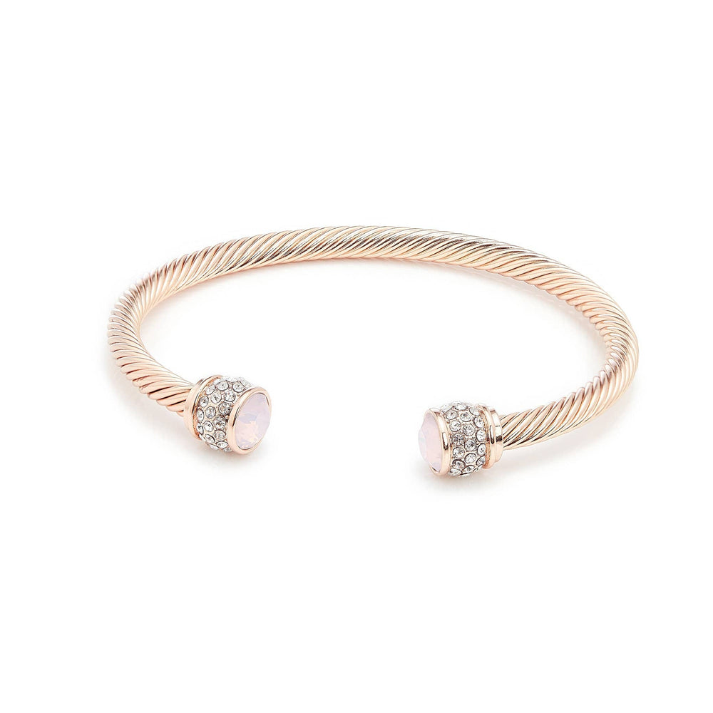 Load image into Gallery viewer, Fervor Montreal Bangle Opal Bella Bangles- Rose Gold Plated with Rose Water Opal Crystal