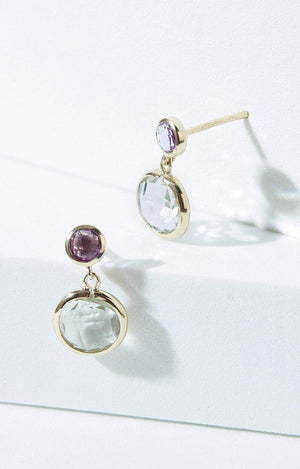Load image into Gallery viewer, Fervor Montreal Earrings Amethyst and Green Amethyst Dangle Earrings