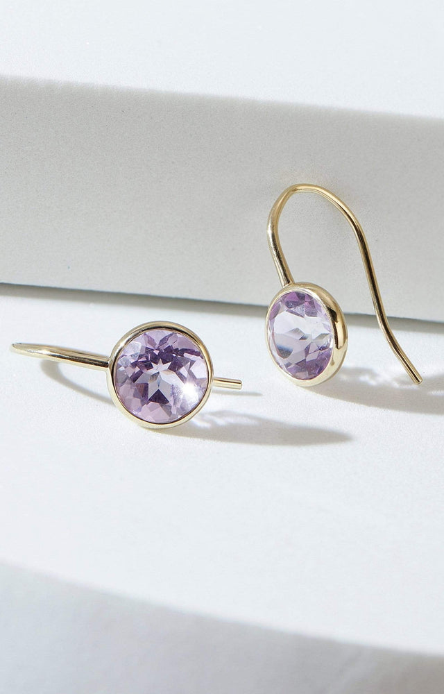 Fervor Montreal Earrings Pink Amethyst Fish Hook Earrings
