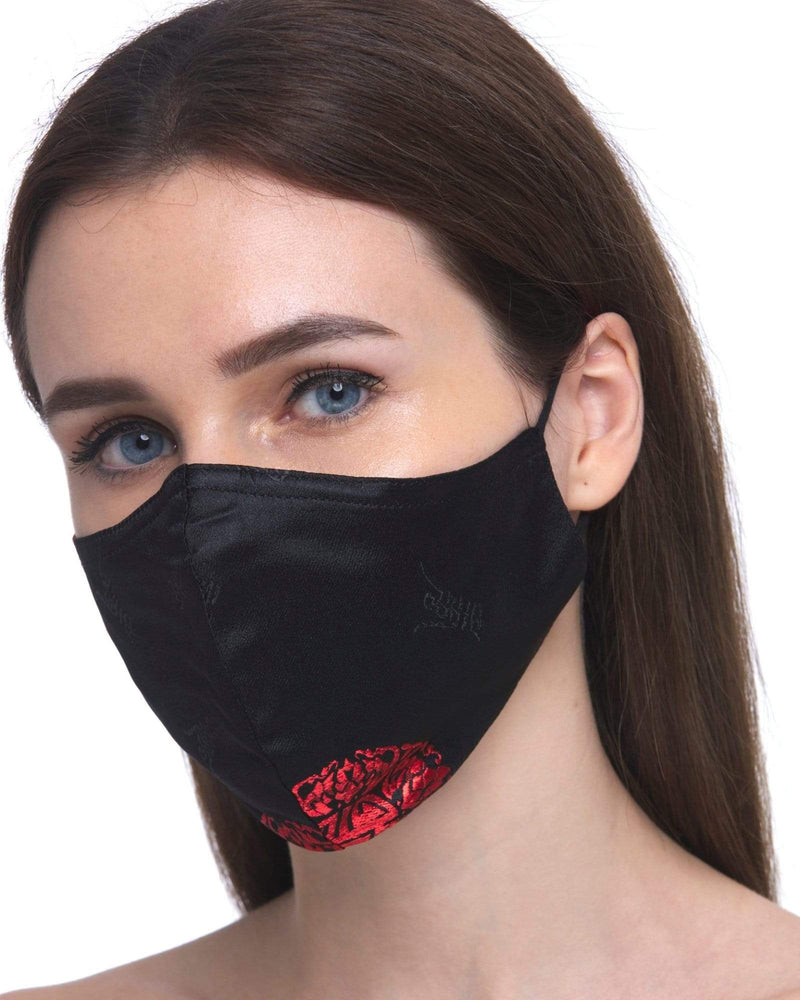 Load image into Gallery viewer, Fervor Montreal Face Mask Oriental Bliss- Black & Red