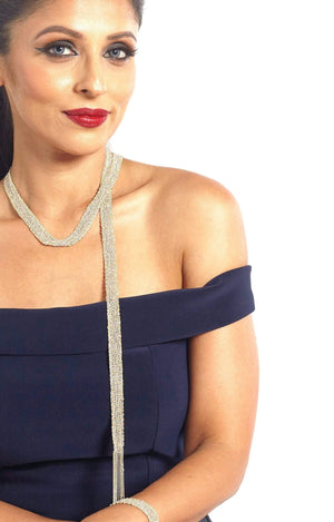 Fervor Montreal Necklace Ascot- Two Tone 18K Gold Plated 925 Sterling Silver Scarf Necklace