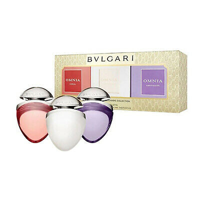 Bvlgari Omnia Jewels Charms Fragrance Gift Set 15ml Crystalline EDT + 15ml Coral EDT + 15ml Amethyste EDT