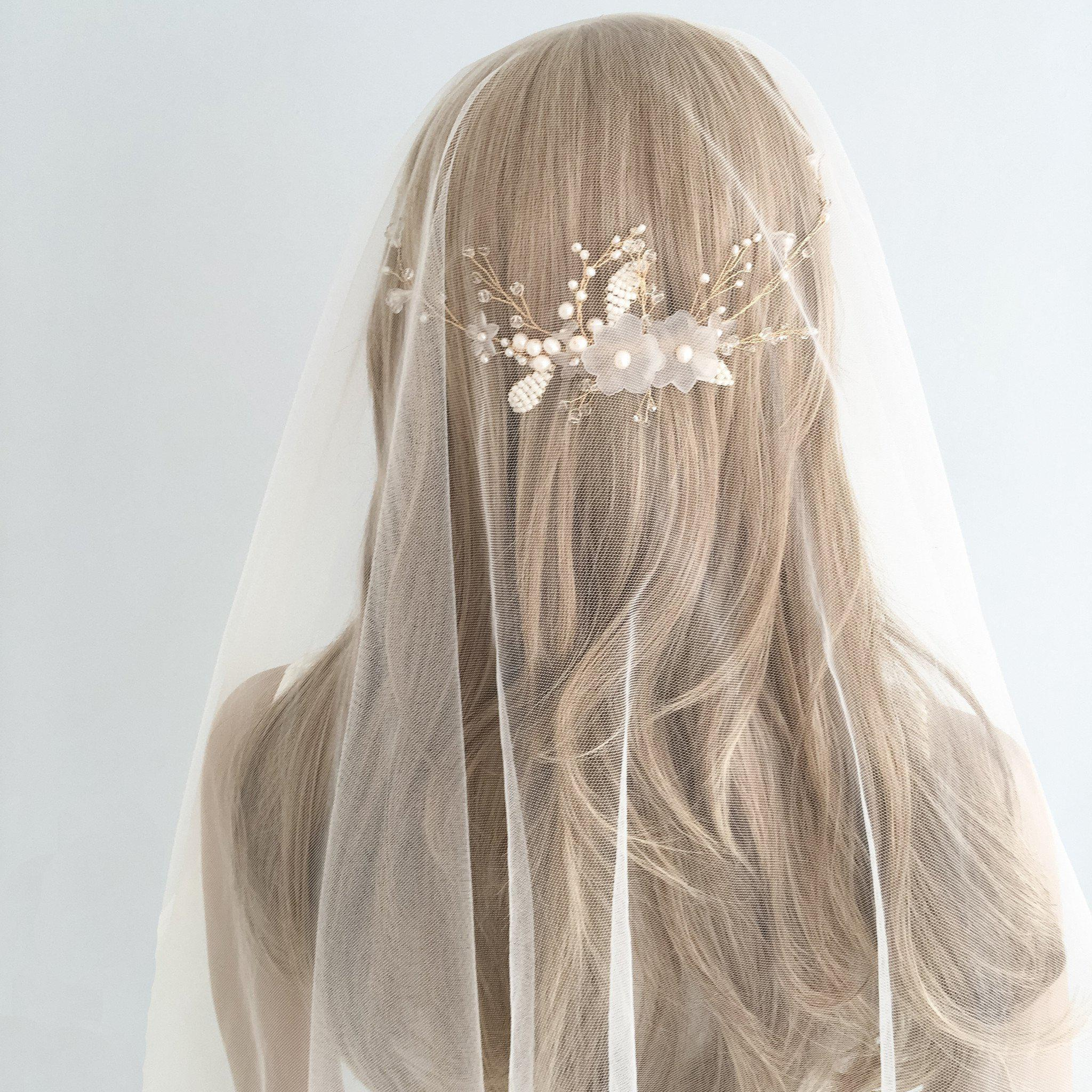 Gold and ivory floral wedding hair comb vine