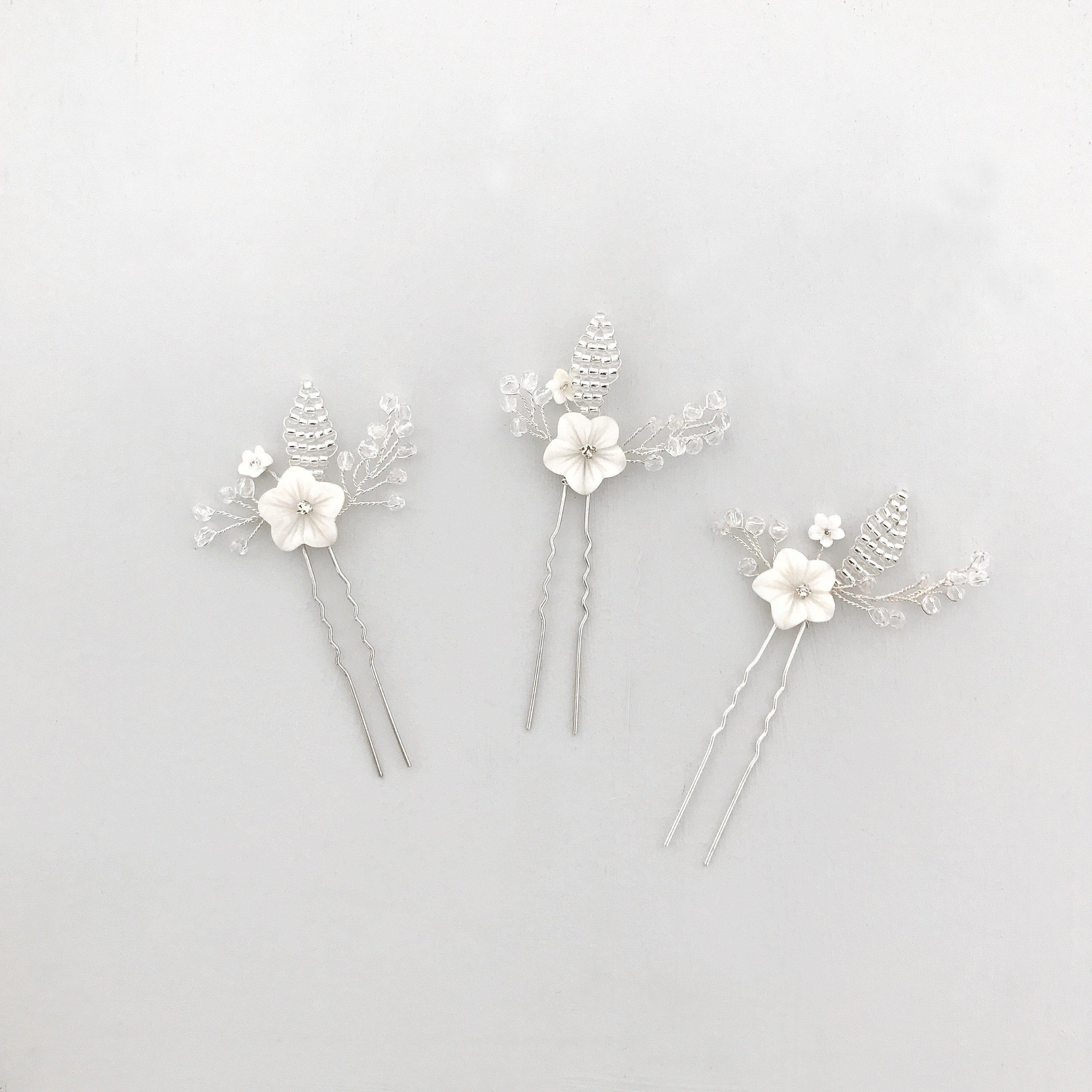 Mother of pearl flower wedding hair pins (x3)