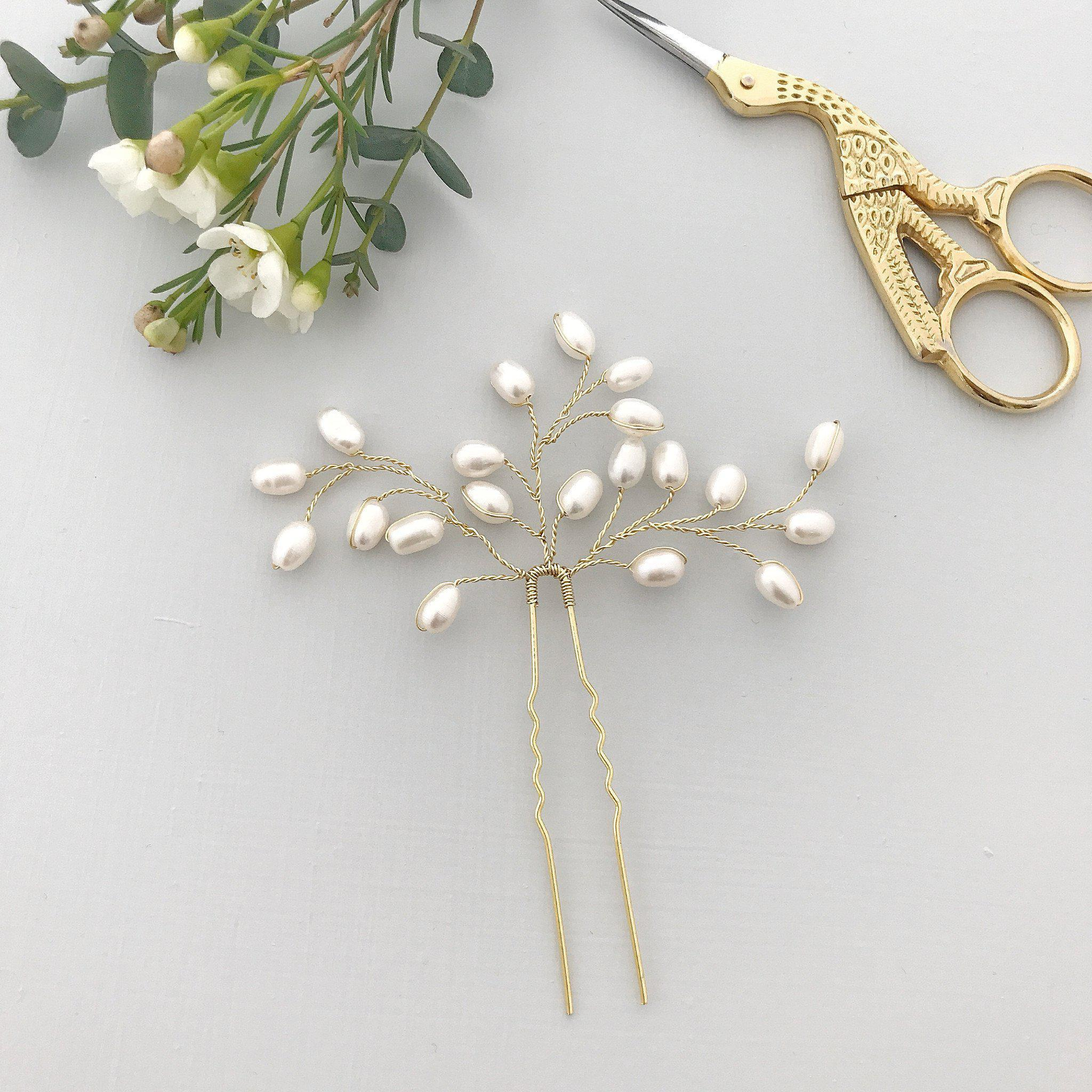Pearl spray wedding hair pin gold