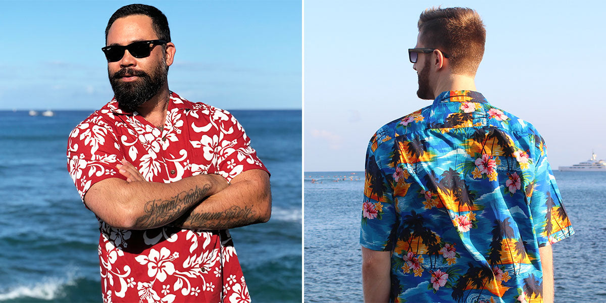 all-over print and scenic print Hawaiian shirt styles