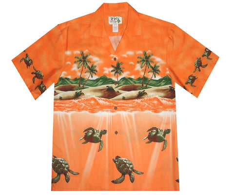 Turtle Attack orange Hawaiian shirt
