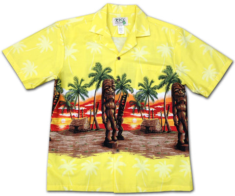 Tiki Enforcer yellow Hawaiian shirt