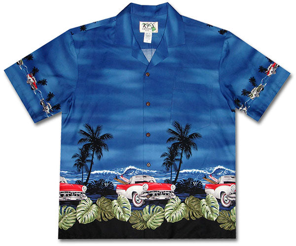 White Walls and Surfboards Blue Hawaiian Shirt