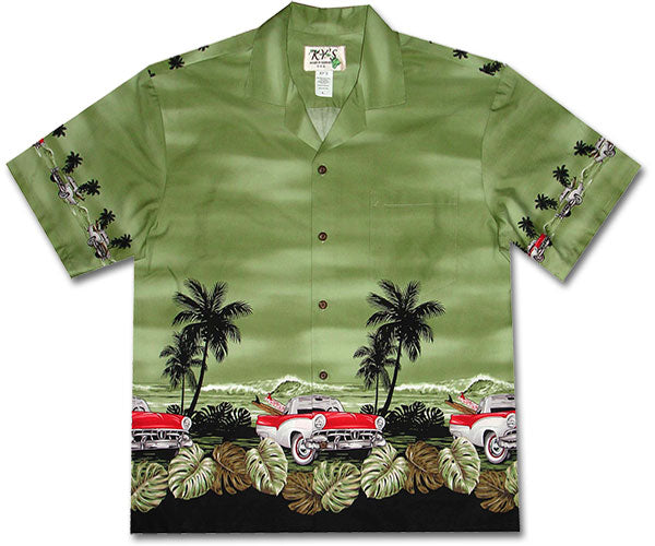 White Walls and Surfboards Green Hawaiian Shirt