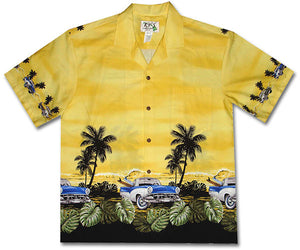 White Walls and Surfboards Yellow Hawaiian Shirt
