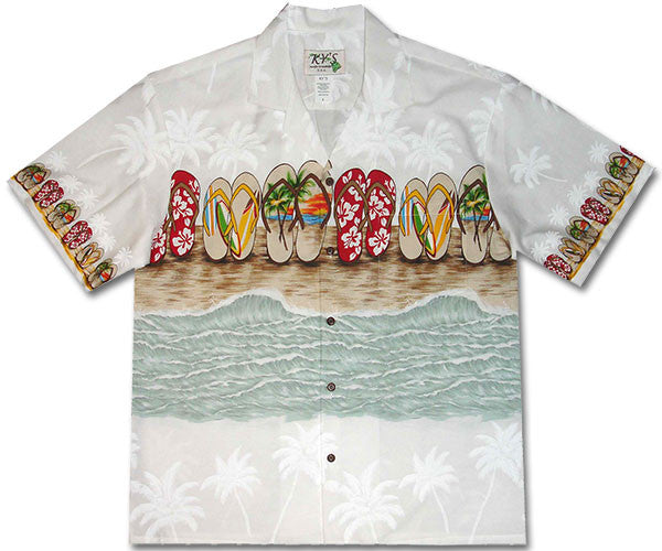 Flip Flop Fiesta White Hawaiian Shirt