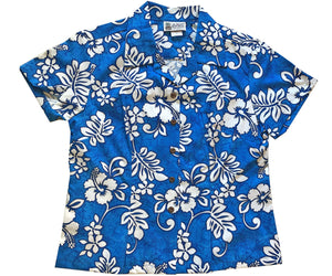 Juicy Tropics Blue Fitted Women's Hawaiian Shirt