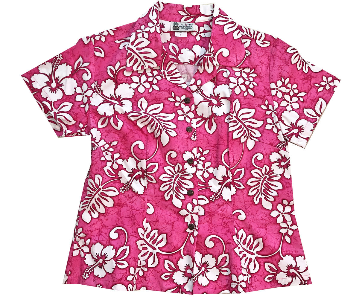 Juicy Tropics Pink Fitted Women's Hawaiian Shirt