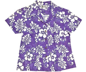Juicy Tropics Purple Fitted Women's Hawaiian Shirt