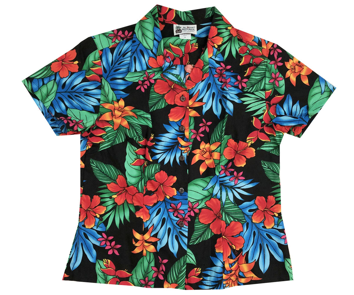 f07cbac3 Jungle Hipster Black Fitted Women's Hawaiian Shirt
