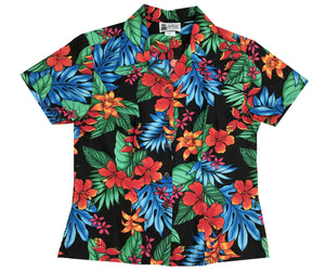 Jungle Hipster Black Fitted Women's Hawaiian Shirt