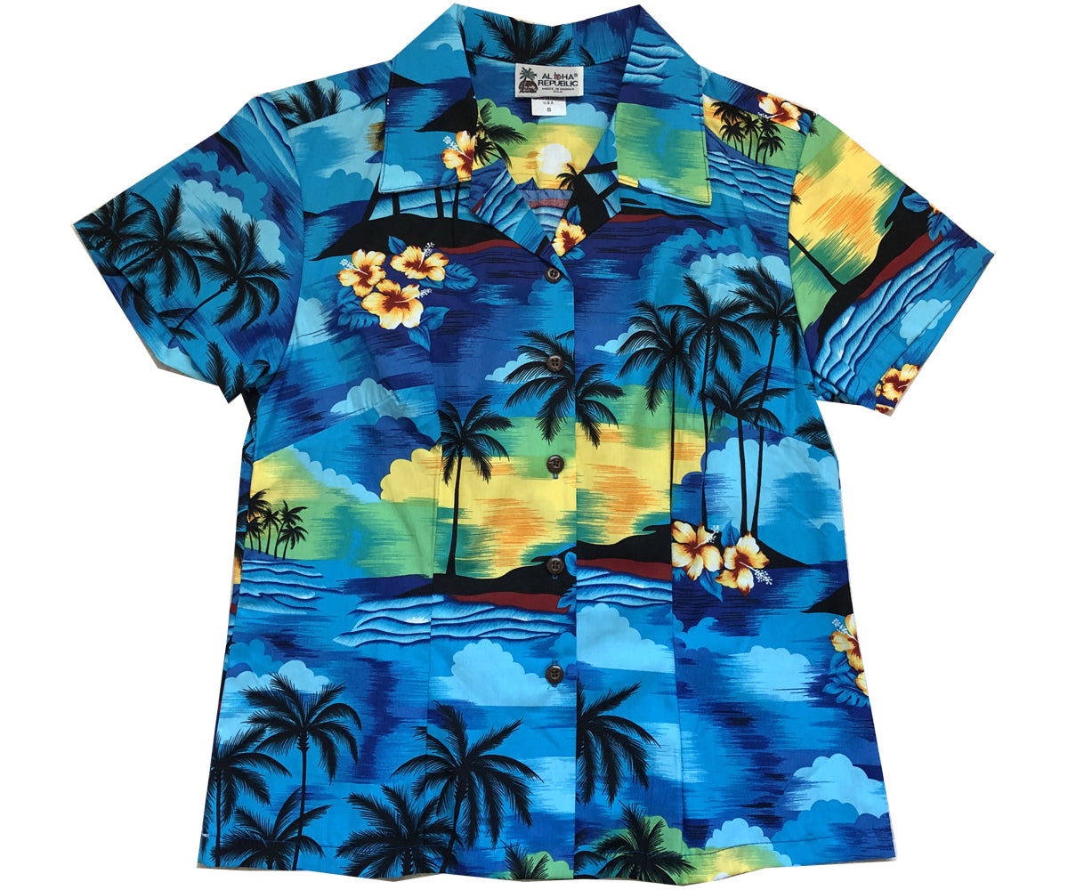 Diamond Head Sunset Blue Fitted Women's Hawaiian Shirt