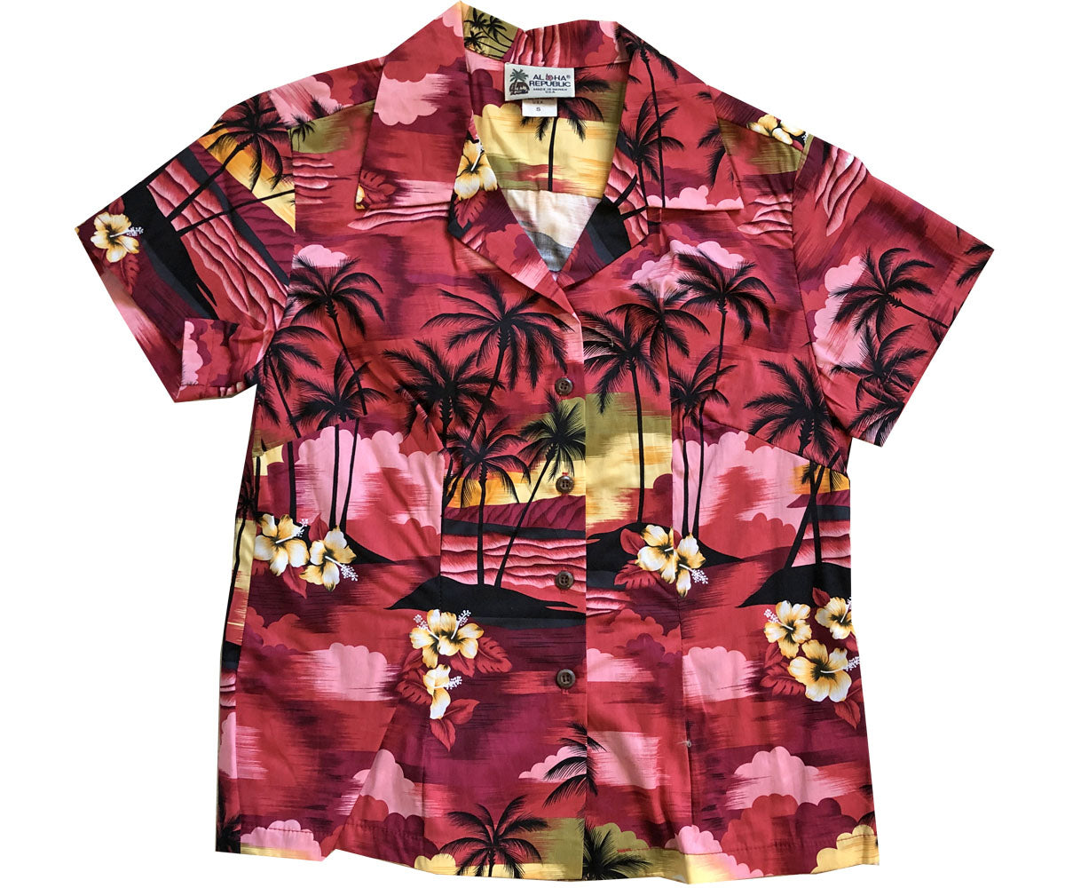 Diamond Head Sunset Red Fitted Women's Hawaiian Shirt