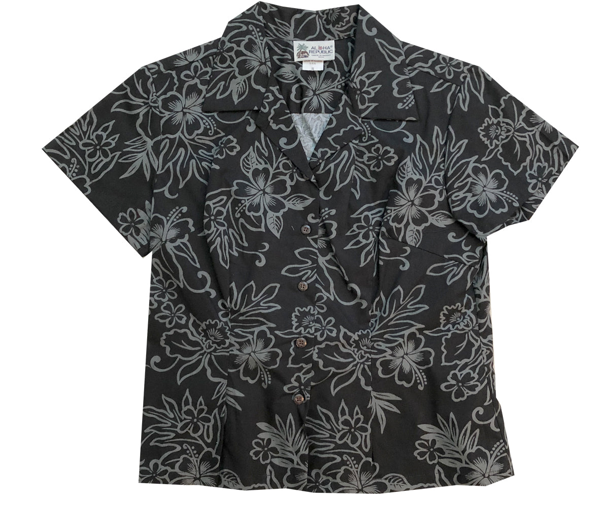 Island Stealth Black Fitted Women's Hawaiian Shirt