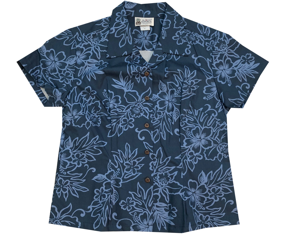 Island Stealth Navy Fitted Women's Hawaiian Shirt