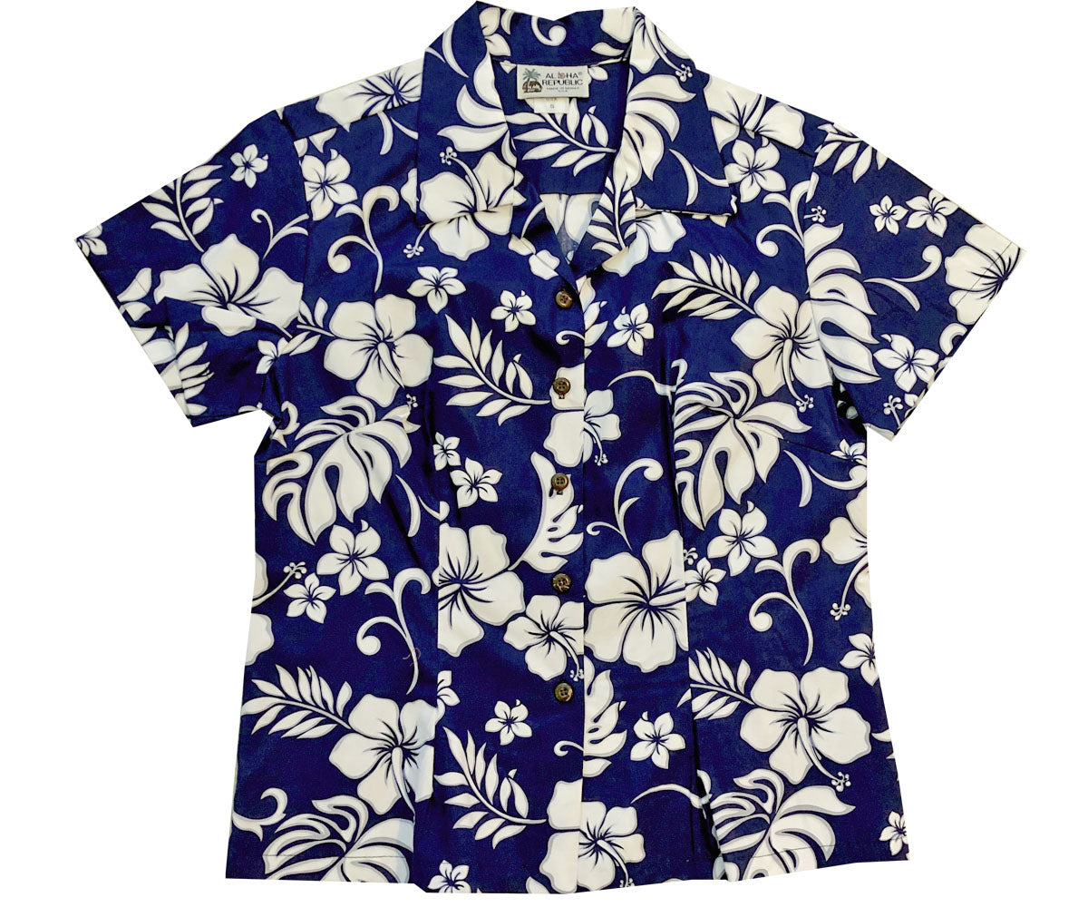Party Flower Navy Fitted Women's Hawaiian Shirt