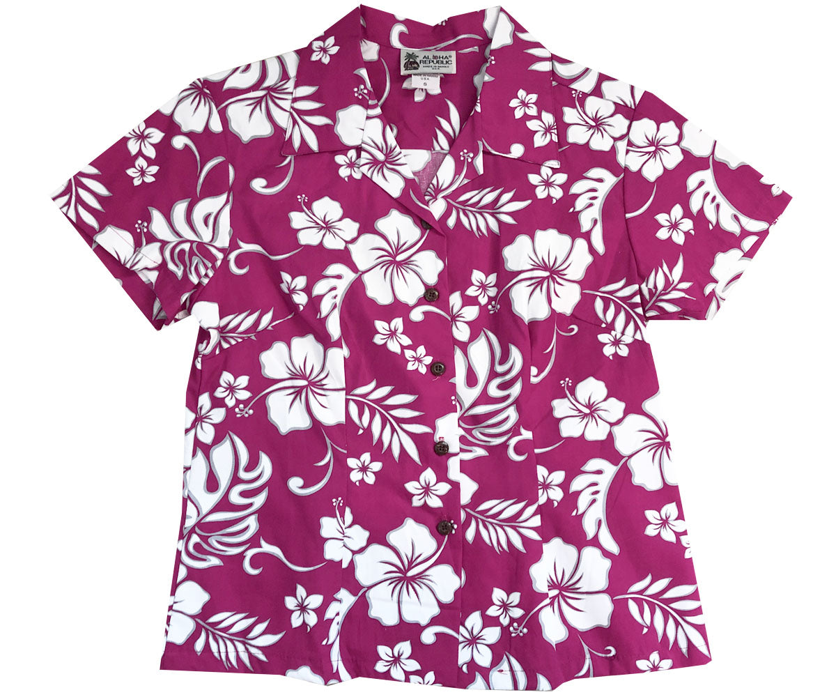 Party Hibiscus  Red Fitted Women's Hawaiian Shirt