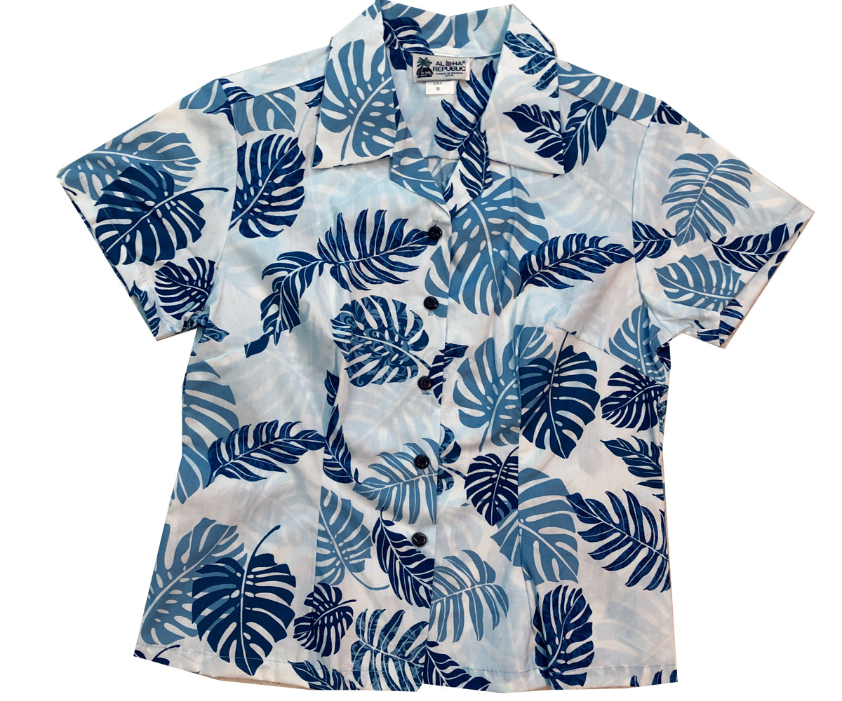 Island Rainforest Blue Fitted Women's Hawaiian Shirt