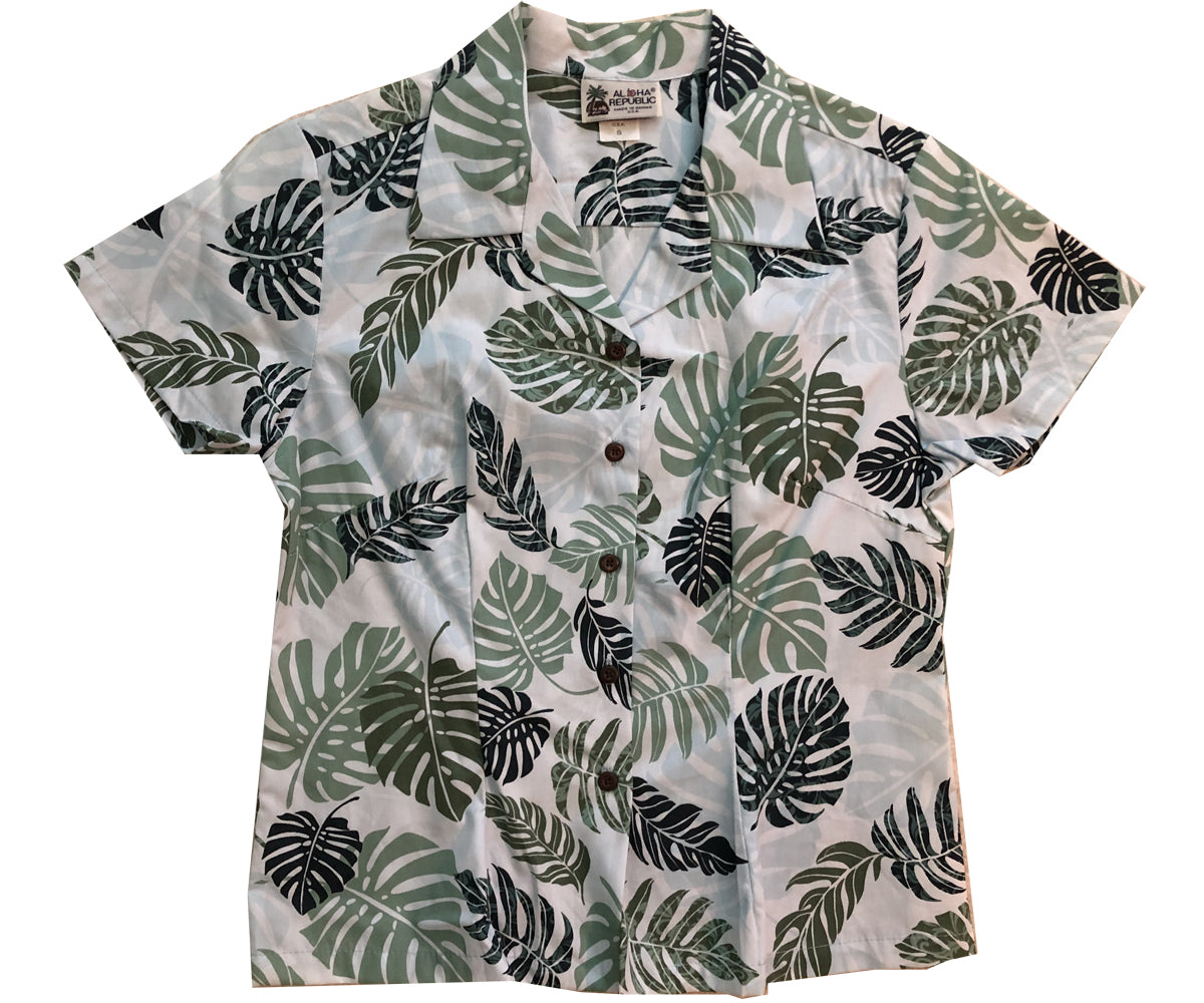 Island Rainforest Green Fitted Women's Hawaiian Shirt