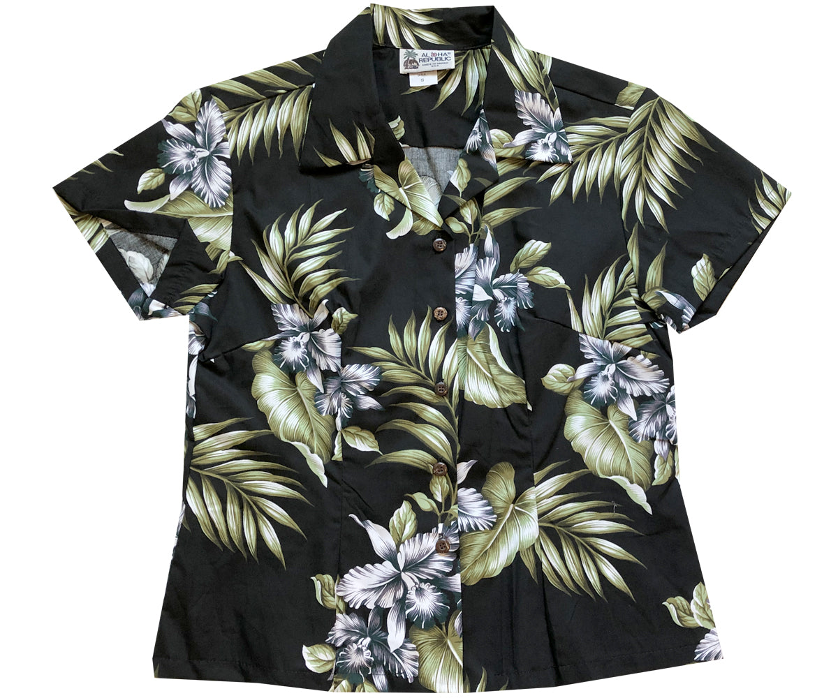Orchid Trio Black Fitted Women's Hawaiian Shirt