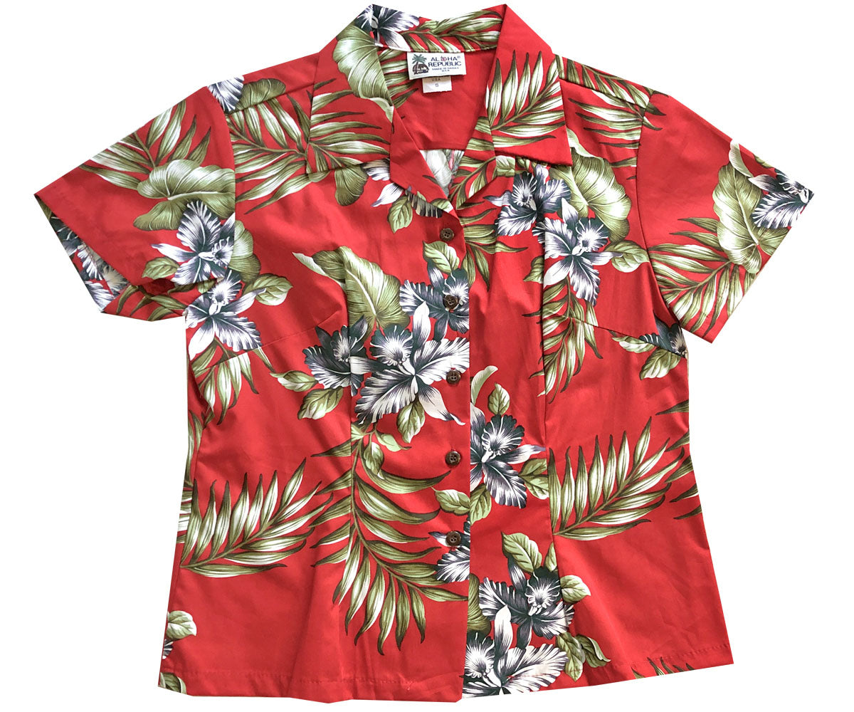 Orchid Trio Red Fitted Women's Hawaiian Shirt