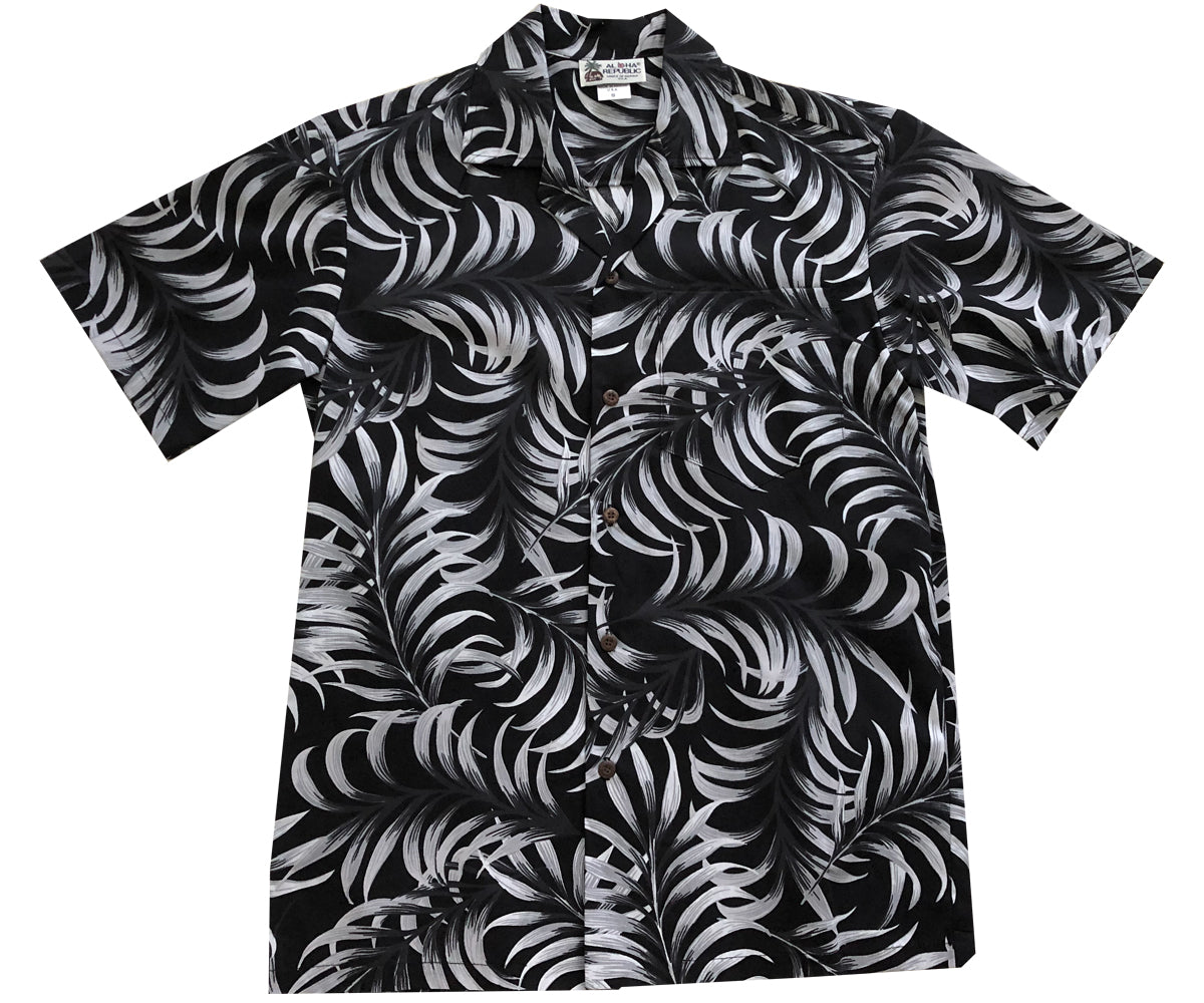 Ferns and Monstera Black Hawaiian Shirt