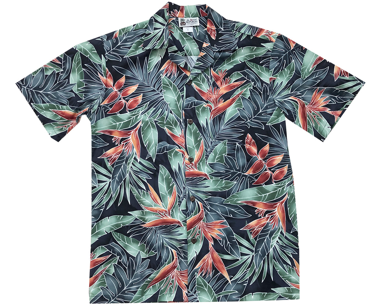 Hanging with the Heliconia Black Hawaiian Shirt