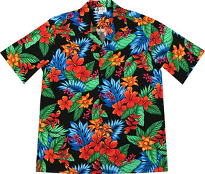 Jungle Hipster Black Hawaiian Shirt
