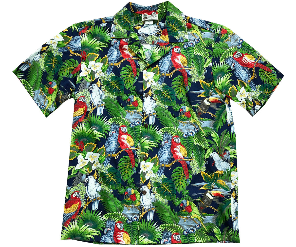 Parrot Domination Navy Hawaiian Shirt