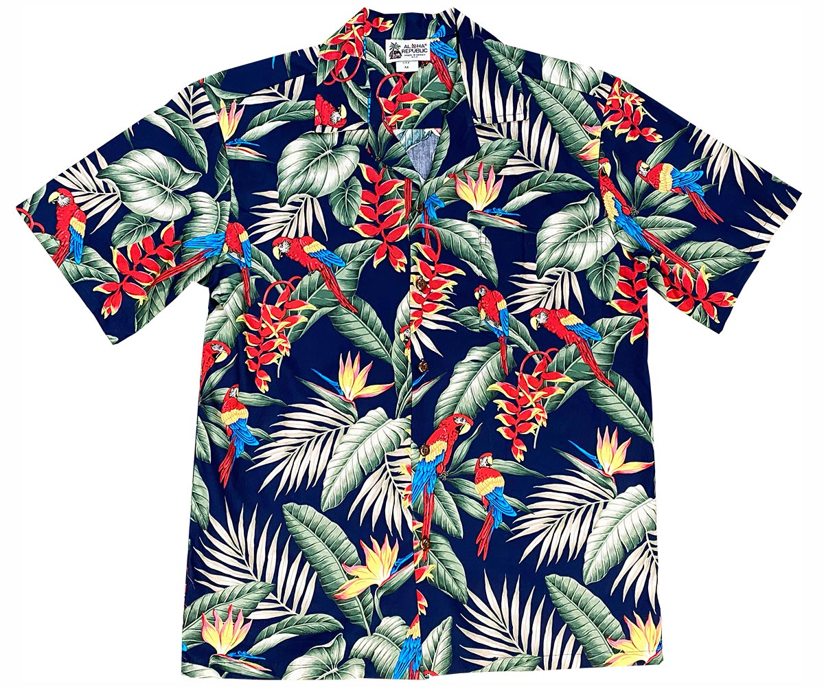 Jungle Parrots Navy Hawaiian Shirt