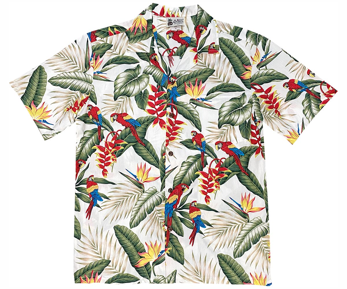 Jungle Parrots White Hawaiian Shirt